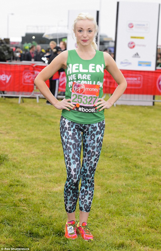 Run-ready: The blonde bombshell, of Call The Midwife fame, couldn't be missed in a brightly-coloured running ensemble
