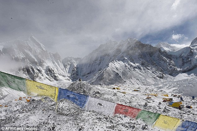 The avalanche on Everest, pictured, killed 18 people including three Americans who were buried under the snow. Up to 100 US citizens are still missing following the disaster and at least 3,300 people were killed