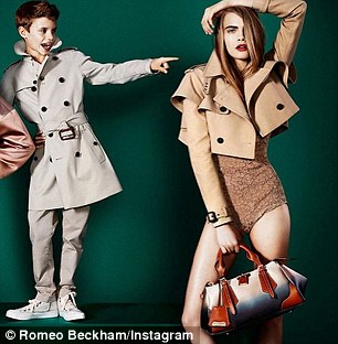 The 12-year-old posted this cheeky snap three weeks ago, captioned: 'Me and Cara modelling for Burberry'