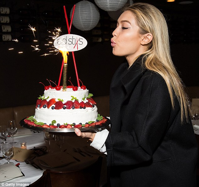 Sparkling: The Los Angeles-born beauty's sweet treat was decorated with a large sparkler