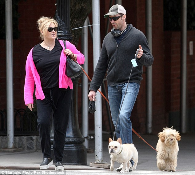 Out and about: Hugh Jackman and wife Deborra look relaxed as they walked the streets of New York City