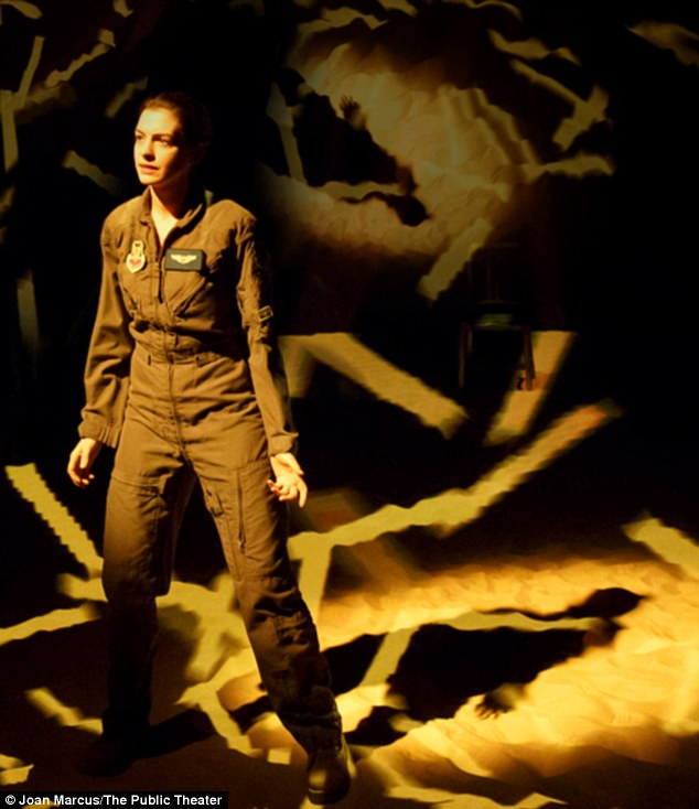 One-woman show: The Interstellar star plays a fighter pilot who becomes pregnant and is reassigned to fly drones in the off-Broadway drama, which has been in previews since April 7