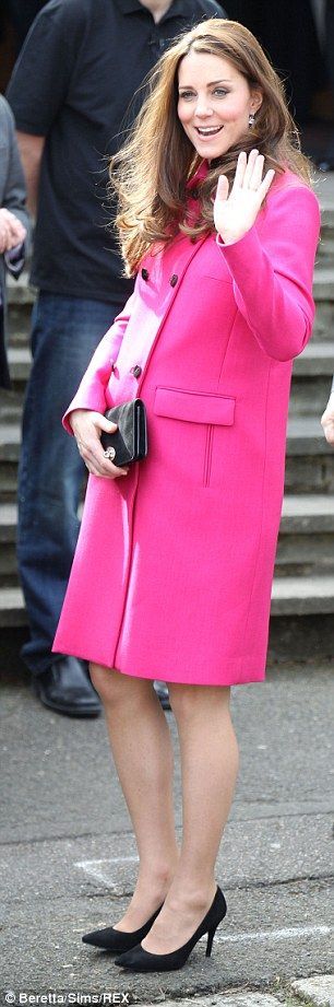 The Duchess in March at one of her last public appearances before the birth of her new baby