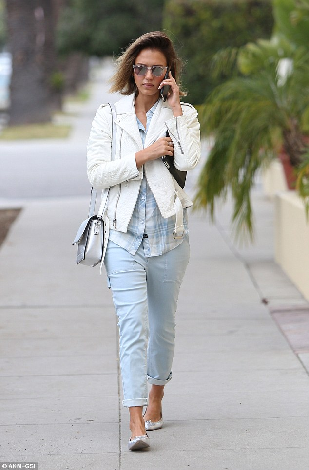Spring-like: Jessica Alba took a  stroll to Gentle Wellness Center in Santa Monica on Saturday