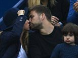 BARCELONA, SPAIN - APRIL 26:  Pop star Shakira and husband Gerard Pique of FC Barcelona kisses in the final during day seven of the Barcelona Open Banc Sabadell at the Real Club de Tenis Barcelona on April 26, 2015 in Barcelona, Spain.  (Photo by fotopress/Getty Images)