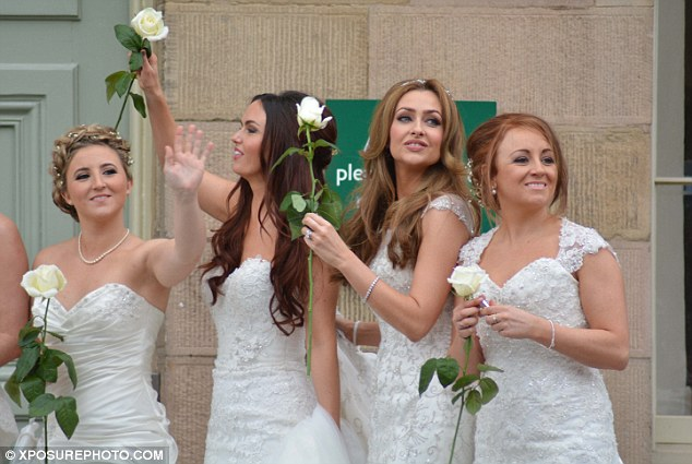Hollyoaks bridesmaids: Jennifer Metcalfe, Gemma Merna and Jasmine Franks were all in the wedding party