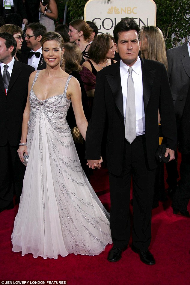 Exes: Denise and Charlie in happier times at the 62nd Golden Globe awards in 2005. She filed for divorce the same year