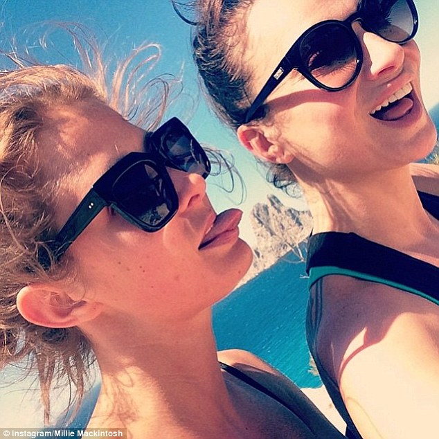 Girls will be girls! Millie poked her tongue at celebrity chef Gizzi Erksine as the girls enjoyed their gruelling morning hike