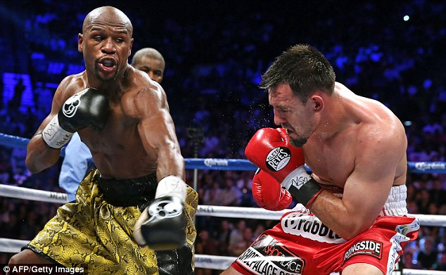 Mayweather attacks Robert Guerrero during the his unanimous points win over his countryman