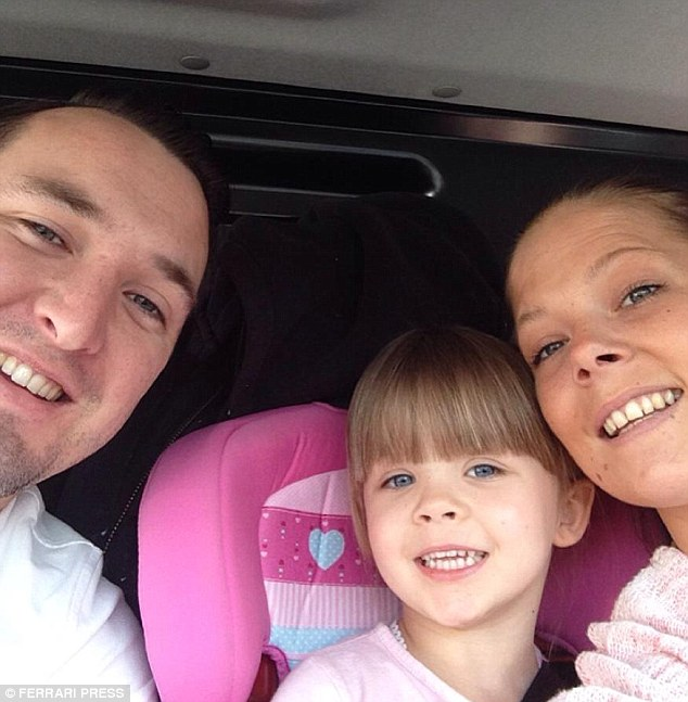Courtney, pictured with her boyfriend and daughter, is now hoping to get married in less than three months time