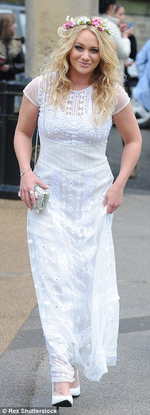 It'll be all-white: Not to be outdone by the bridesmaids, Kirsty Leigh Porter donned a statement white dress
