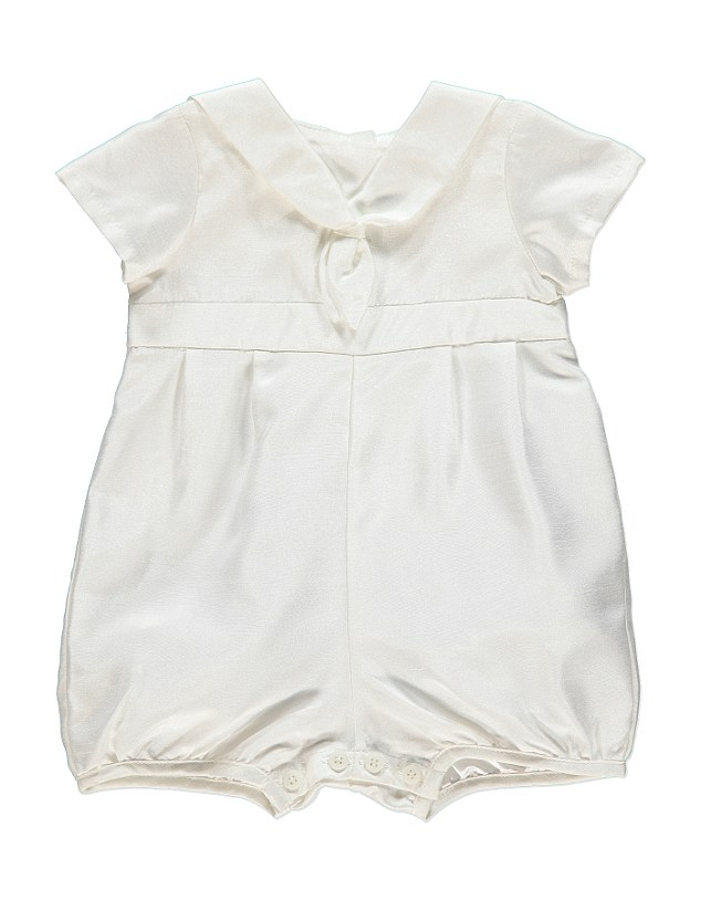 After discovering that 63 per cent of families are concerned about the spiraling costs of a christening,  Asda created this range of outfits, including this £15 romper inspired by Prince George