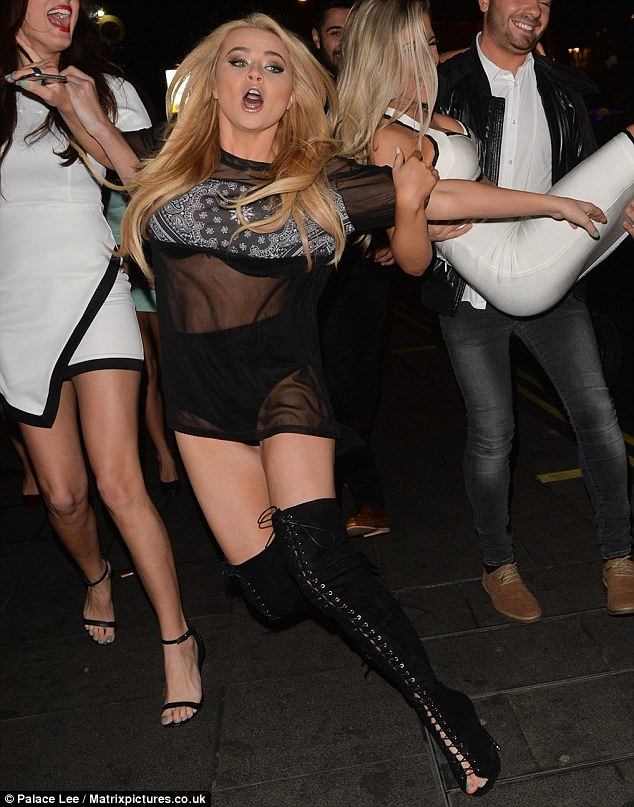 Whoops! Melissa Reeves suffered quite the humiliating fall as she made her way to London's Cafe de Paris with a large crowd of friends on Saturday night