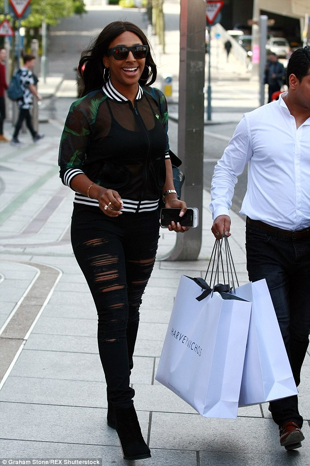 Treating herself: The X Factor star picked out some goodies in Harvey Nichols