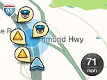 This image taken from the the Waze app on an iPhone, in Washington, shows police at the scene on a map on the app. Sheriffs are campaigning to pressure Google Inc. to turn off a feature on its Waze traffic software that warns drivers when police are nearby. Authorities say one of the technology industry's most popular mobile apps could put officers' lives in danger from would-be cop-killers who can find where their targets are parked.  (AP Photo/Ted Bridis)