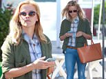 """Picture Shows: Reese Witherspoon  April 27, 2015\n \n """"Wild"""" star Reese Witherspoon has a busy morning in Brentwood, California. Reese grabbed breakfast at the Brentwood Country Mart before heading to a studio. \n \n Non-Exclusive\n UK Rights Only\n \n Pictures by : FameFlynet UK © 2015\n Tel : +44 (0)20 3551 5049\n Email : info@fameflynet.uk.com"""