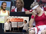 Canada's Eugenie Bouchard, front left, reacts during her Federal Cup tennis match against Romania's Andreea Mitu as coach Sylvain Bruneau, front right, looks on in Montreal, Sunday, April 19, 2015. (Graham Hughes/The Canadian Press via AP) MANDATORY CREDIT