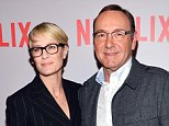"""BEVERLY HILLS, CA - APRIL 27:  Actress Robin Wright (L) and actor Kevin Spacey attend Netflix's """"House Of Cards"""" Q&A screening event at the Samuel Goldwyn Theater on April 27, 2015 in Beverly Hills, California.  (Photo by Amanda Edwards/WireImage)"""