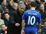 Chelsea manager Jose Mourinho speaks to his player Eden Hazard during the English Premier League soccer match between Arsenal and Chelsea at the Emirates Stadium, London, England, Sunday, April 26, 2015. (AP Photo/Rui Vieira)