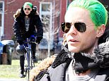 136237, EXCLUSIVE: Jared Leto shows off his green Joker hair as he rides his bike around Toronto. Jared, who wore a puffy jacket, shorts, and tights, is in town filming 'Suicide Squad.' Toronto, Canada - Sunday April 26, 2015. CANADA OUT Photograph: © PacificCoastNews. Los Angeles Office: +1 310.822.0419 sales@pacificcoastnews.com FEE MUST BE AGREED PRIOR TO USAGE