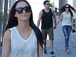Los Angeles, CA - Jesse Metcalfe and Cara Santana are all smiles as they meet up with a friend. Metcalfe showed off his toned arms in a black tank tee, army green shorts and black sneakers. AKM-GSI   April  27, 2015 To License These Photos, Please Contact : Steve Ginsburg (310) 505-8447 (323) 423-9397 steve@akmgsi.com sales@akmgsi.com or Maria Buda (917) 242-1505 mbuda@akmgsi.com ginsburgspalyinc@gmail.com