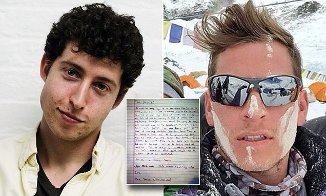 Mount Everest avalanche victim Dan Fredinburg carrying letter to read at summit