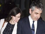 Picture Shows: Louise Ford, Rowan Atkinson  April 27, 2015    Stars attend the 'American Buffalo' press night after party in London, England.    Non Exclusive  WORLDWIDE RIGHTS    Pictures by : FameFlynet UK © 2015  Tel : +44 (0)20 3551 5049  Email : info@fameflynet.uk.com