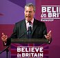 Nigel Farage leader of Britain's United Kingdom Independence Party delivers a speech in Hartlepool, England, Tuesday, April 28, 2015. Britain goes to the polls in a General Election on May 7. (AP Photo/Scott Heppell)