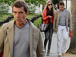 ***BYLINE: MELMEDIA*** Hollywood star Antonio Banderas is seen holding hands with his much younger girlfriend Dutch investment consultant Nicole Kimpel in fashionable Chelsea. Banderas recently revealed that he is set to move to London to become a design student. 28/04/15 ***BYLINE: MELMEDIA*** PLEASE NOTE ALL SALES WILL BE HANDLED BY MELANIE WHITEHEAD at MELMEDIA PLEASE CONTACT MELANIE WHITEHEAD on 07711700105 e-mail: mel.media.123@gmail.com