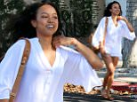 Make-up free Karrueche Tran looks confused as she talks on her cellphone after leaving Kate Somerville Spa in Beverly Hills Featuring: Karrueche Tran Where: Los Angeles, California, United States When: 28 Apr 2015 Credit: WENN.com