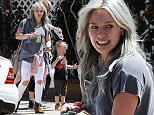 Hilary Duff still sporting her dyed hair, takes her son Luca to The Co-op in Studio City as he was cooled down on a hot spring day, getting sprinkled with bottled water by his nanny Featuring: Hilary Duff, Luca Comrie Where: Los Angeles, California, United States When: 28 Apr 2015 Credit: Cousart/JFXimages/WENN.com