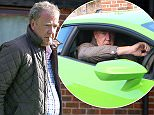 ** EXCLUSIVE SET **..JEREMEY CLARKSON IN A GREEN LAMBORGINI (WITH UNKNOWN FEMALE ) AT GOODWOOD HOTEL IN WEST SUSSEX PICTURED THIS MORNING  09.00 WITH JAMES MAY GETTING IN ANOTHER YELLOW FERRARI AT SIMILIAR TIME LEAVING HOTEL