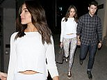 Beverly Hills, CA - Nick Jonas and his girlfriend Olivia Culpo looked very much in love as they left a dinner date at Mastro's Steakhouse in Beverly Hills.  The cute couple held hands on their way to their awaiting ride. Olivia bared a hint of midriff in a white sweater with a pair of snakeskin print leggings and copper colored studded sneakers. AKM-GSI          April 29, 2015 To License These Photos, Please Contact : Steve Ginsburg (310) 505-8447 (323) 423-9397 steve@akmgsi.com sales@akmgsi.com or Maria Buda (917) 242-1505 mbuda@akmgsi.com ginsburgspalyinc@gmail.com