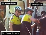 This frame shows from left to right: Officer Caesar Goodson, Officer Garret Miller, Officer Edward Nero, Freddie Gray, Lt Brian Rice