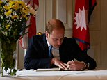 Kensington Palace handout photo of the Duke of Cambridge signing the Book of Condolence at the Embassy of Nepal in London following the earthquake that devastated the region last week.  PRESS ASSOCIATION Photo. Picture date: Friday May 1, 2015. See PA story QUAKE Nepal. Photo credit should read: Kensington Palace/PA Wire NOTE TO EDITORS: This handout photo may only be used in for editorial reporting purposes for the contemporaneous illustration of events, things or the people in the image or facts mentioned in the caption. Reuse of the picture may require further permission from the copyright holder.