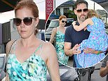 Amy Adams and Darren Le Gallo took daughter Aviana out to Craig's in West Hollywood for dinner.  The actress was wearing a sleeveless blue and white dress.  The pair are ready to make it official this weekend.  April 30, 2015 X17online.com