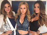Australian model Simone Holtznagel poses with fellow Guess Models in Vegas