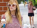 UK CLIENTS MUST CREDIT: AKM-GSI ONLY EXCLUSIVE: Pregnant Jaime King feeds her pregnancy cravings with a chocolate milkshake while running a few errands in Beverly Hills.  Pictured: Jaime King Ref: SPL1014515  010515   EXCLUSIVE Picture by: AKM-GSI / Splash News