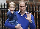 Britain's Prince William and his son Prince George wave as they return to St. Mary's Hospital's exclusive Lindo Wing, London, Saturday, May 2, 2015. William's wife, Kate, the Duchess of Cambridge, gave birth to a baby girl on Saturday morning.  (AP Photo/Kirsty Wigglesworth)