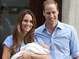 KATE AND WILLIAM WITH THE NEW ROYAL BABY LEAVING HOSPITAL TODAY  PICTURE JEREMY SELWYN 23/07/2013