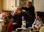 WARNING: Embargoed for publication until 28/04/2015 - Programme Name: EastEnders - TX: 04/05/2015 - Episode: 5061 (No. n/a) - Picture Shows: ***HOLD BACK FOR COMS PLACEMENT***.. A furious Buster dumps Babe's trifle on her head! Nancy Carter (MADDY HILL), Linda Carter (KELLIE BRIGHT), Aunt Babe (ANNETTE BADLAND), Andrew 'Buster' Briggs (KARL HOWMAN), Mick Carter (DANNY DYER), Whitney Dean (SHONA MCGARTY), Lee Carter (DANNY-BOY HATCHARD) - (C) BBC - Photographer: Kieron McCarron