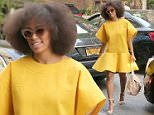 May 3, 2015: Solange Knowles brightens up an even brighter New York City afternoon by donning a vibrant, yellow dress paired with neutral accessories, New York City.\nMandatory Credit: INFphoto.com Ref.: infusny-198