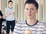 ***MANDATORY BYLINE TO READ INFPhoto.com ONLY***\nDressed down in a white striped top and black leggings, Ireland Baldwin steps out in Malibu, California rocking her new dark brown hair as she grabs coffee with friend at a local Starbucks. The teen star recently moved back to her own Malibu pad after rehab for 'emotional trauma'.\n\nPictured: Ireland Baldwin\nRef: SPL1014959  010515  \nPicture by: Borisio/SAA/INFphoto.com \n\n