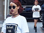 """Rihanna steps out in a mini skirt, boots and white t-shirt that says """"School Kills"""" as she stops by the Tracie Martyn salon in NYC.  Pictured: Rihanna Ref: SPL1015560  030515   Picture by: Splash News  Splash News and Pictures Los Angeles: 310-821-2666 New York: 212-619-2666 London: 870-934-2666 photodesk@splashnews.com"""