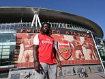 243/4/2015 NFL DRAFT London Born and Arsenal fan  21 year old Boise State Running Back JAY AJAYI a projected  2nd Round  Pick in Next weeks NFL draft  pictured  outside Emirates Stadium London Picture Dave Shopland
