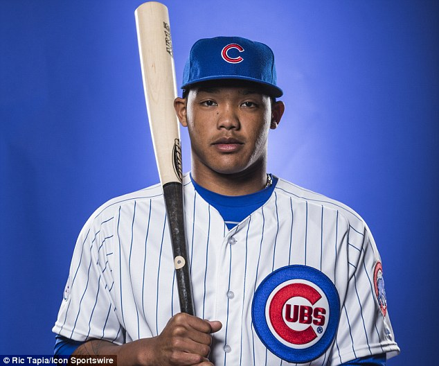 The rookie, 21, went 1-for-3 on Monday night and is batting .160 in six big league games for the Cubs