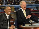 """In this image released by CBS, President Barack Obama, left, appears with host David Letterman during a taping of """"Late Show with David Letterman,"""" on Monday, May 4, 2015, in New York. (John Filo/CBS via AP)"""