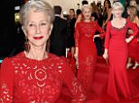 Helen Mirren attending The Metropolitan Museum of Art Met Gala, in New York City, USA. red dress