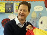 Liberal Democrat Party leader Nick Clegg plays with  children during his visit to Westerton Nursery in Bearsden, Scotland on the last day of the General Election campaign. PRESS ASSOCIATION Photo. Picture date: Wednesday May 6, 2015. See PA story ELECTION LibDems. Photo credit should read: Steve Parsons/PA Wire