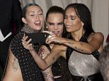China: Through the Looking Glass Met Costume Gala 2015 at the Metropolitan Museum of Art in NY.  Pictured: Miley Cyrus, Cara Delevingne, Zoe Kravitz Ref: SPL1014349  040515   Picture by: Janet Mayer / Splash News  Splash News and Pictures Los Angeles: 310-821-2666 New York: 212-619-2666 London: 870-934-2666 photodesk@splashnews.com